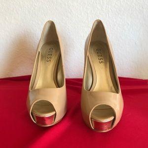 GUESS tan colored peeptoe platform stiletto heels
